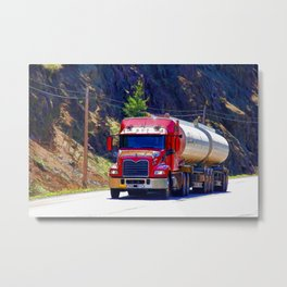 Truckers Big Rig Fuel Tanker Truck Metal Print