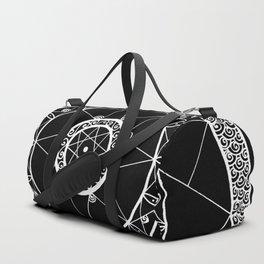Zen Star Mandala - Black White - Square Duffle Bag