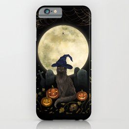 The Black Cat on Halloween Night iPhone Case