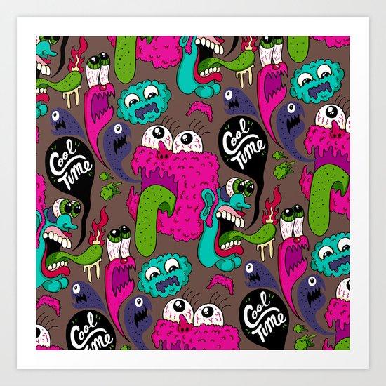 Cool Time Pattern Art Print