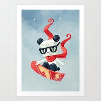 snowboarding Art Prints featuring Snowboarding by Freeminds