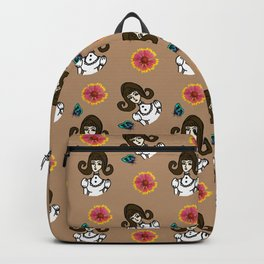 girl with dress beige Backpack