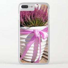 Blooming Calluna vulgaris or heather Clear iPhone Case