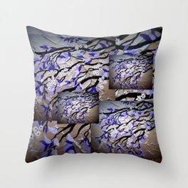 Purple and silver grey gray cherry blossom blossoms tree trees sakura Japanese 2 Throw Pillow