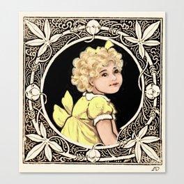 Yellow Bow Girl Canvas Print