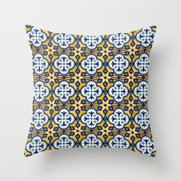 Yellow and Blue Moroccan Tile Throw Pillow