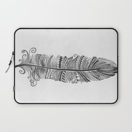 Black and White Feather Zen Laptop Sleeve