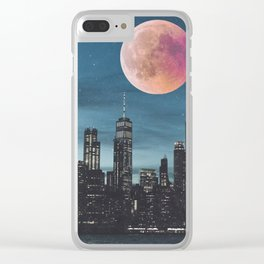 New York City Blood Moon Skyline Clear iPhone Case