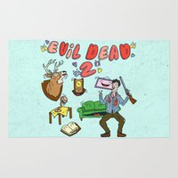 evil dead Area & Throw Rugs featuring ♥ EVIL DEAD 2 ♥ by Josh LaFayette