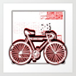 Ten Speed Bicycle Against The Wall In Red Art Print