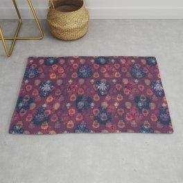 Lotus flower - orange and blue on mulberry woodblock print style pattern Rug