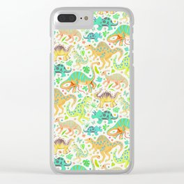 Happy Dinos - citrus colors Clear iPhone Case