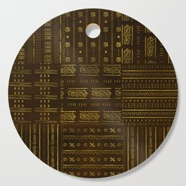Gold African Tribal Pattern on rich brown texture Cutting Board