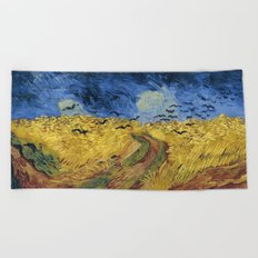Wheatfield with Crows by Vincent van Gogh Beach Towel