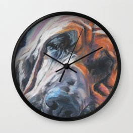 Bloodhound dog portrait Fine Art Dog Painting by L.A.Shepard Wall Clock