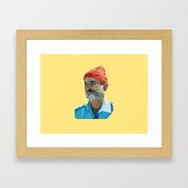 Steve Zissou low poly portrait Framed Art Print