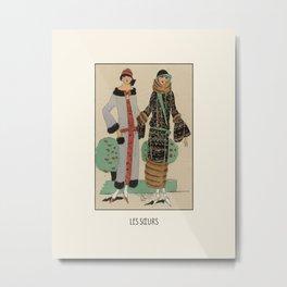 Les souers   The sisters in the parc   Art Deco Fashion illustration   Vintage, retro Design Metal Print