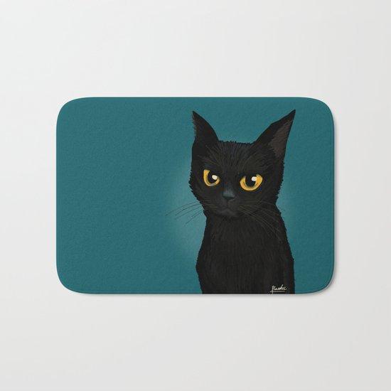 Cat in the blue Bath Mat