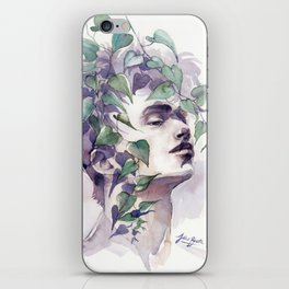 A man with ivy, watercolor portrait iPhone Skin