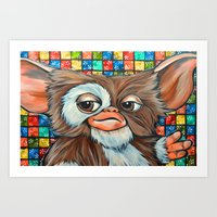 gizmo Art Prints featuring Gizmo  by Portraits on the Periphery