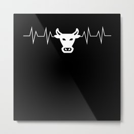 Cow Head EKG Heartbeat Pulse Gift Metal Print