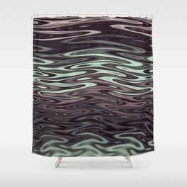 Ripples Fractal in Mint Hot Chocolate Shower Curtain