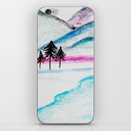 Watercolor blue landscape iPhone Skin