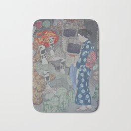 1926 Hiroshi Yoshida Japanese Woodblock Print Honest Grocer Bath Mat