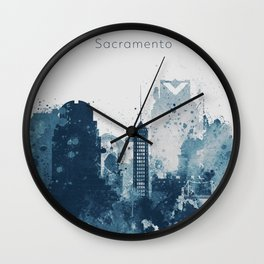 Blue Sacramento watercolor skyline Wall Clock
