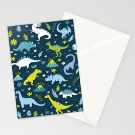 Kawaii Dinosaurs in Blue + Green Stationery Cards