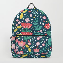 Flower Lovers - Dark Blue Backpack