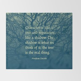 Tree of Character VINTAGE BLUE / Deep thoughts by Abe Lincoln Throw Blanket