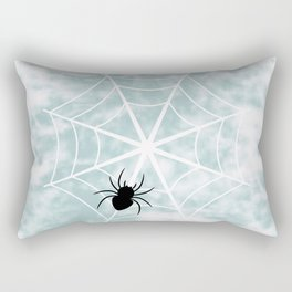 Spiderweb on a cloudy day Rectangular Pillow