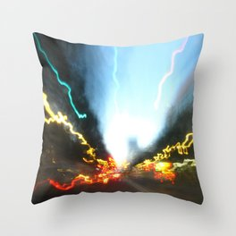 Abstract Downtown Flow - Light Painting Throw Pillow