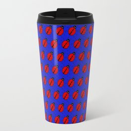 Ladybugs Pattern-Dark Blue Travel Mug