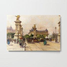 Pont Alexandre III & Grand Palais, Paris by Eugene Galien Laloue Metal Print