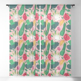 Kawaii Illustration Pattern with Vegetables and Fruits like Zucchini, Apple, Orange and Fennel Sheer Curtain