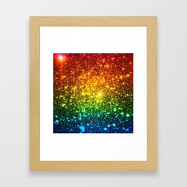 RainBoW Sparkle Stars Framed Art Print