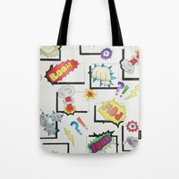 comic book Tote Bags featuring Comic Book by michaelrosen