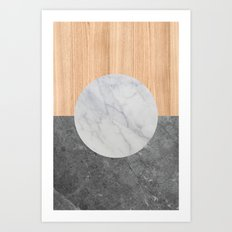 Abstract - Marble and Wood Art Print