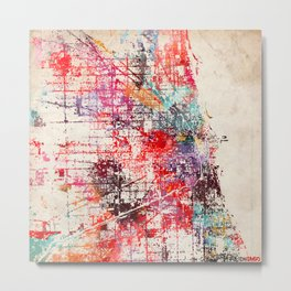 Chicago map painting Metal Print