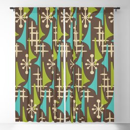 Mid Century Modern Atomic Wing Composition 55 Brown Chartreuse and Turquoise Blackout Curtain
