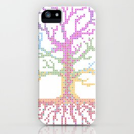 Rainbow Chakra Tree of Life - Real Stitch-able Color Coded Cross Stitch Chart iPhone Case