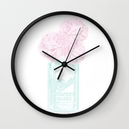 Pink Peonies in a Mason Jar Wall Clock
