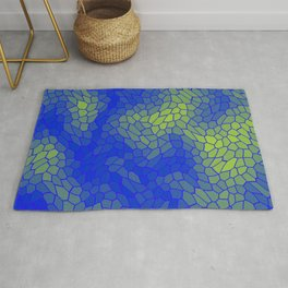 Stained glass texture of snake blue leather with Iridescent heat spots. Rug