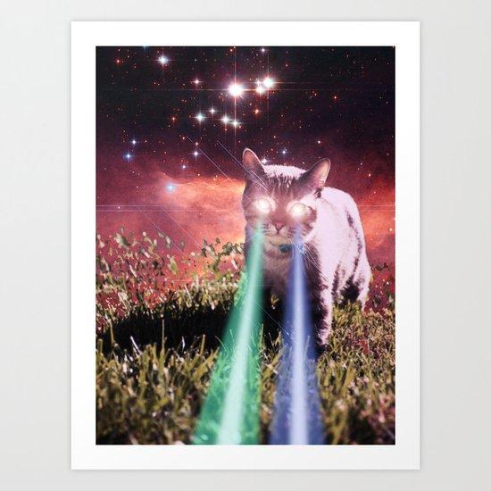 Mega Space Cat Rising Art Print