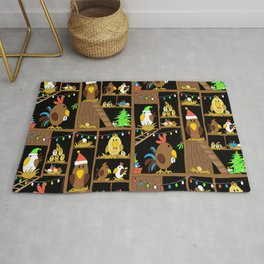 Chicken Coop Christmas - by Kara Peters - funny chickens, holidays Rug