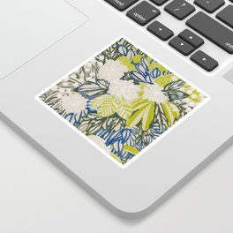 White chrysanthemums -ink floral Sticker