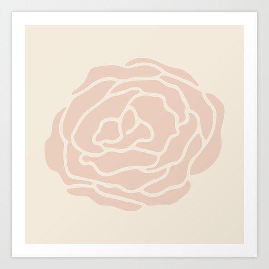 Rose Vintage Pink on Petal Cream Art Print