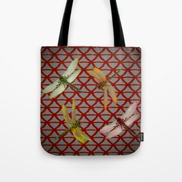 DRAGONFLIES  RED-GREY ORIENTAL SCREEN ART Tote Bag